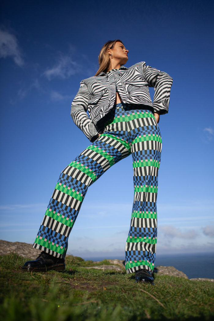 Keyboard Check Trousers – Blue-Green