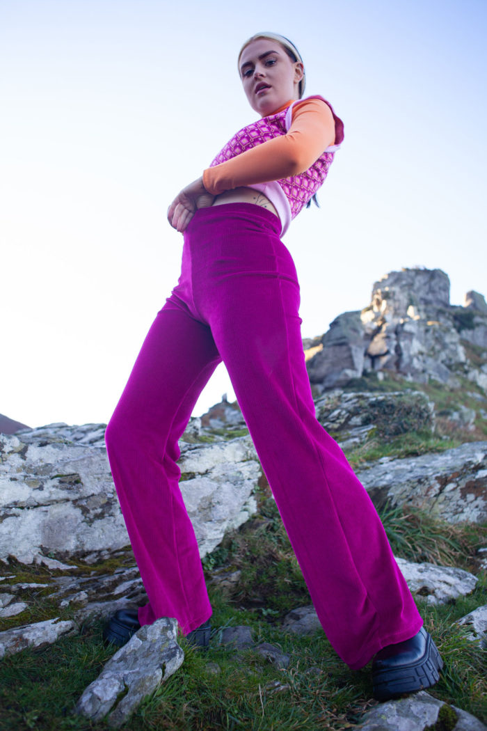 Organic Velour Trousers – Beetroot
