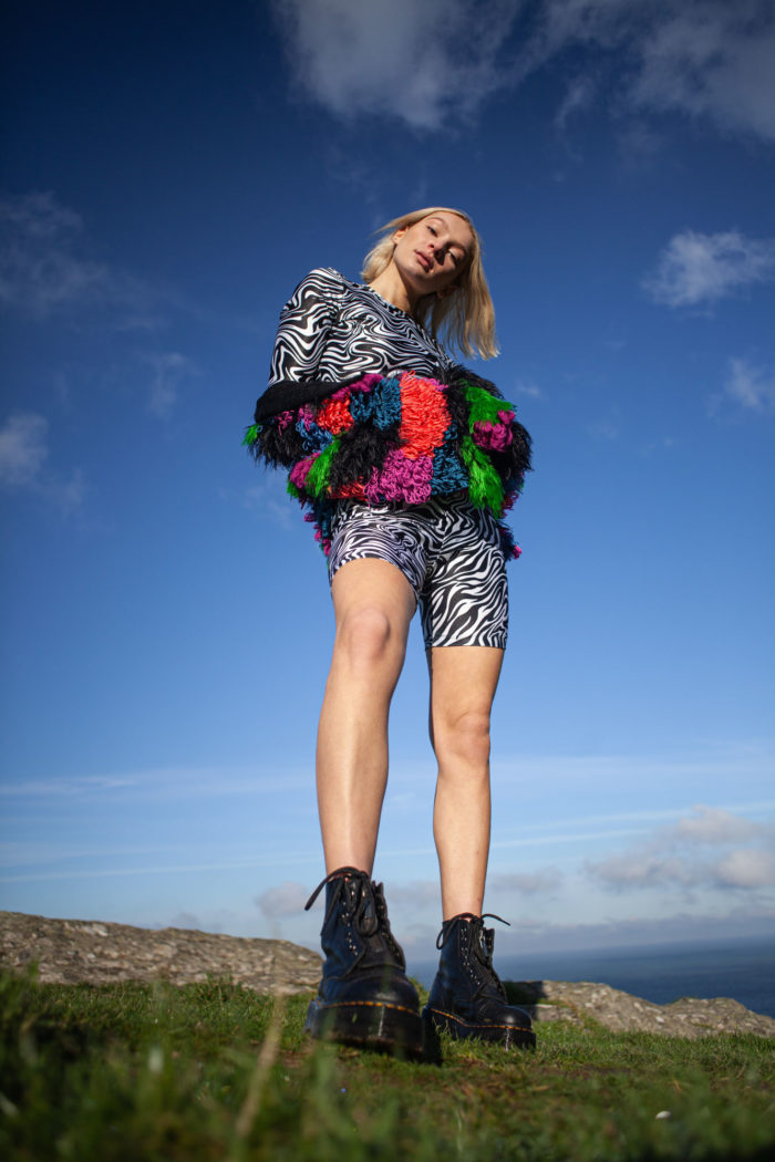 Multi-coloured Textured Cardigan With Zebra Patterned Crop Top And Shorts